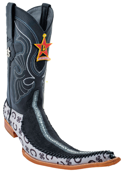Los Altos Black Genuine Stingray Rowstone 9X Pointed Toe Cowboy ...